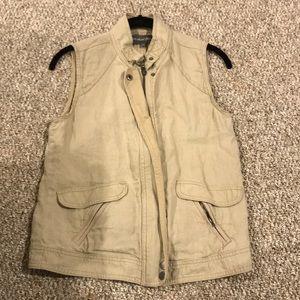 Tan linen vest